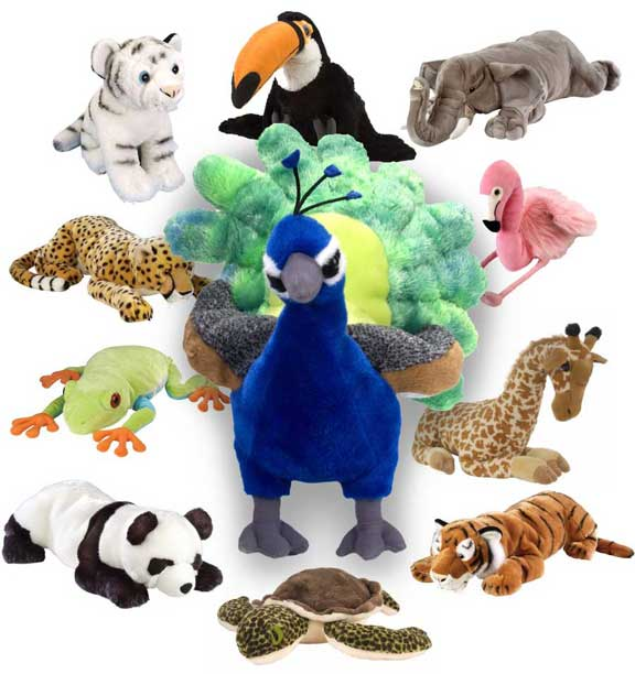 Plush toys provided as prizes for regular drawings from the students with appropriate attendance records.